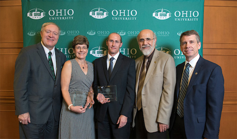 From left to right: President M. Duane Nellis, Presidential Teacher Award recipient Fabian Benencia, Presidential Teacher Award finalist Chao-Yang Lee, Executive Vice President and Provost Chaden Djalali, and Interim Vice President for Research and Creative Activity David Koonce. Not pictured: Presidential Teacher Award finalist Laura Harrison. Photo credit: Hannah Ruhoff/Ohio University.