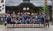 Thompson and his troupe mates on Oct. 13, 2018, on the afternoon before the start of the Asuke Fall Matsuri after being blessed by the head priest of Asuke Hachimangū Shrine.