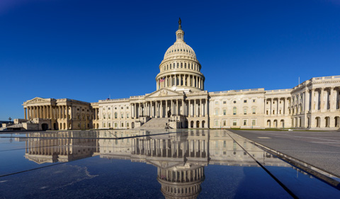 Panoramic view of Capitol Building with reflection in the morning, Washington DC