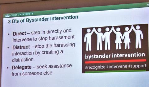 Slide on the 3 D's of bystander intervention: recognize, intervene, support