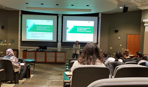 OHIO Chemistry & Biochemistry graduate student Ahmed Aboelenen (Dr. Michael Jensen's research group) presents his research.
