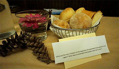 """Each table at the Ecohouse Thanksgiving had a basket of bread, decorative pine cones, and a conversation topic card with a question pertaining to food and sustainability. This card reads, """"What are the main inhibitors to the expansion of sustainable food systems in our region? What does a sustainable food system look like to you?"""""""