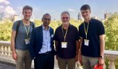 "NQPI member David Drabold (center right) poses in Cambridge, England with Nobel laureate Venkatraman ""Venki"" Ramakrishnan (center left) and his sons, Will (left) and Edward (right). Drabold spent last spring at Trinity College during his sabbatical. (Photo courtesy of David Drabold)"