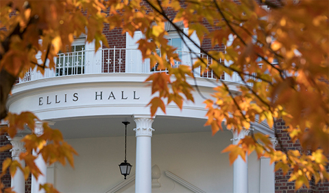 Fall photo of Ellis Hall entrance framed by yellow and orange leaves.