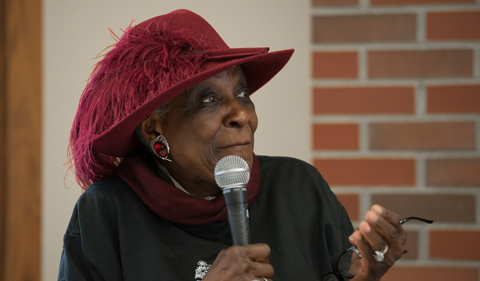 Francine Childs stirs emotion in the crowd as she speaks during a panel discussion held in Frontroom on January 23, 2015.
