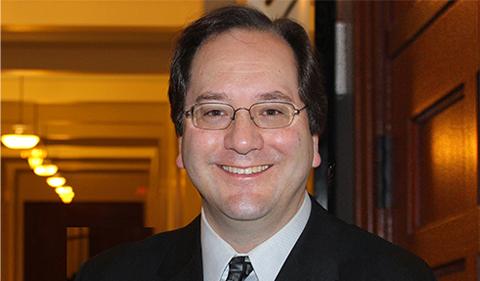 Fred Drogula, portrait in hallway