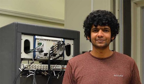 Hariprakash Haragopal in his groups lab, where he records electrical responses to sound in Dutch belted rabbits