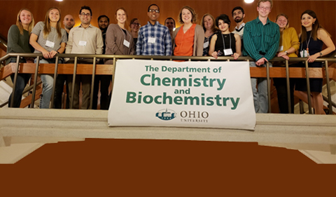 OHIO Chemistry & Biochemistry students (attendees and volunteers) with conference co-organizers Drs. Travis White and Jessica White.