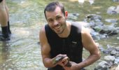 Dr. Viorel Popescu holds a hellbender.