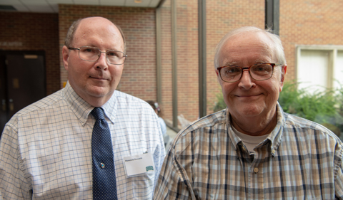 From left, Associate Provost Howard Dewald and Professor Emeritus Gene Westenbarger