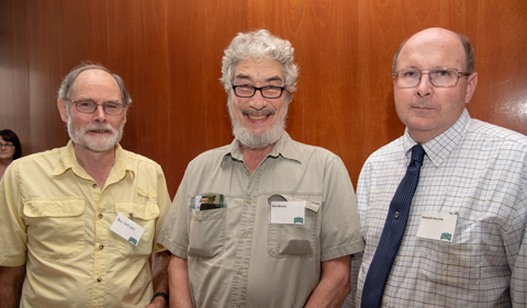 From left, professors emeriti Dr. Paul Sullivan and Dr. Kenneth Brown with Associate Provost Dr. Howard Dewald.