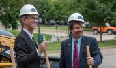 From left, Interim Dean Joseph Shields and Chemistry Professor Peter Harrington at the chemistry groundbreaking.