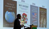 Professor Amitav Achary presents the Elizabeth Evans Baker Lecture.