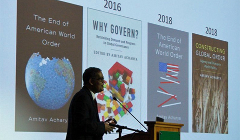 Professor Amitav Achary presents the Elizabeth Evans Baker Lecture