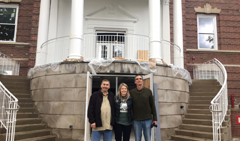 Chairs Jack Bender, Linda Rice and William Owens get ready to show alumni Ellis renovations.