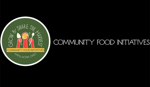 "Community Food Initiatives logo with phrase ""Grow & share the harvest"""