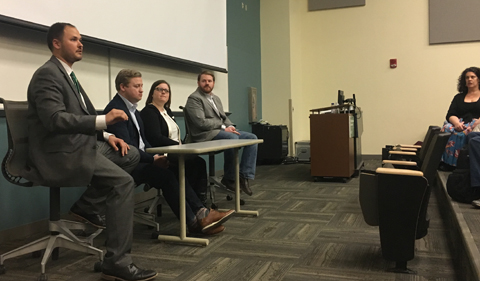 The 2019 Political Science Alumni Career Panel, shown seated in a line