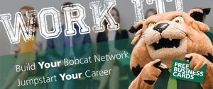 Bobcat mascot, wording in background