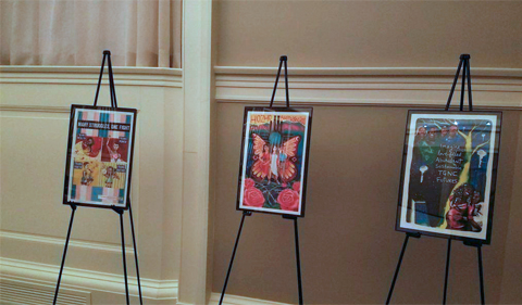 A picture of three trans inclusive art pieces put up around the chapel