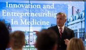 "Dr. Frank Papay, chair of the Dermatology and Plastic Surgery Institute at the Cleveland Clinic, delivers a lecture titled ""Innovation and Entrepreneurship in Medicine"" at the Ohio University Heritage College of Osteopathic Medicine's Cleveland Campus. Photo by Dustin Franz"