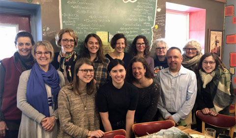 Cynthia Graber and Nicola Twilley pose with Ohio University faculty and students, and community members after a delicious breakfast prepared by the Village Bakery.