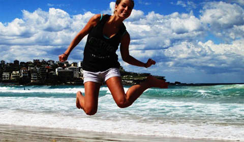 Photo of jumping student on study abroad