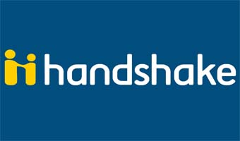 handshake logo in blue