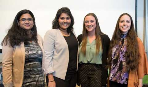 Grouip shot of The 2019 winners are Proma Basu, Michelle Michael, Rebecca Keogh, and Anne Sternberger.