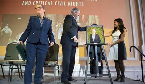 Dr. Susan Burgess, left, President M. Duane Nellis, middle, and Dr. Gerri Botte, right, get the first look at Dr. Burgess' Distinguished Professor Portrait.