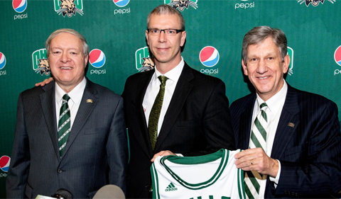 From left, OHIO President M. Duane Nellis, Coach Jeff Boals, and Director of Athletics Jim Schaus.