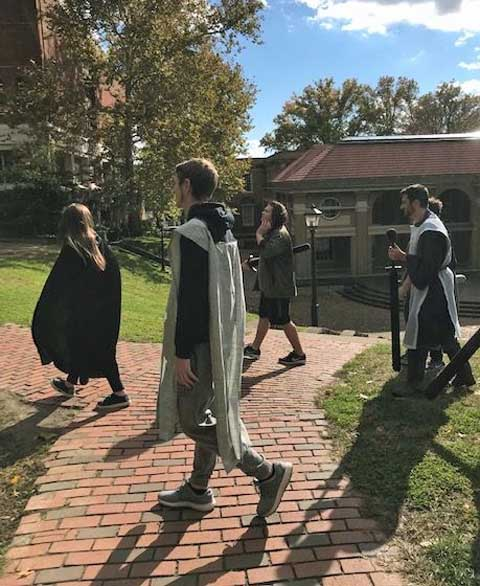 LARPing students head into battle.