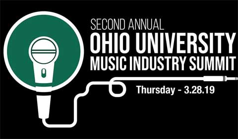 Graphic for second annual Ohio University Music Industry Summit on March 28