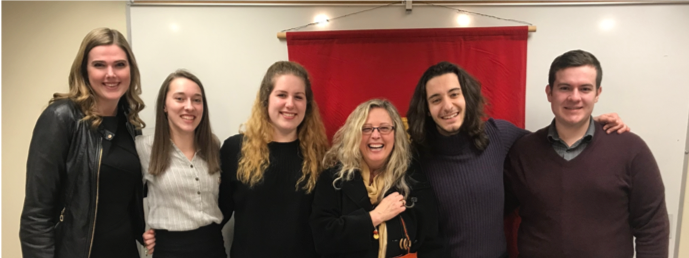 From left to right: Sigma Delta Pi members Ally Robertson, Cassidy Sellep, Maggie Saine, Spanish Professor Dr. Emilia Alonso-Sameño, Jim Nalley, and Vinny Lyons.