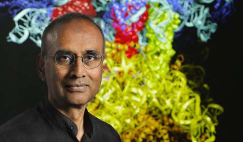 Dr. Venki Ramakrishnan, portrait with ribosome art from bookcover.
