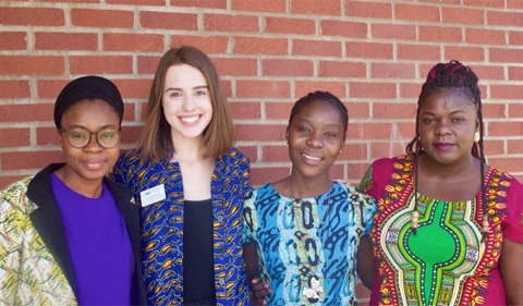 Amina Kassim, Coordinator of the Swahili Program and '19 MA Linguistics; Alexandra Koran; Purity Wawire, Swahili Instructor and '20 MA African Studies; and Peggy Sayo, Swahili Instructor and '20 MA International Development Studies