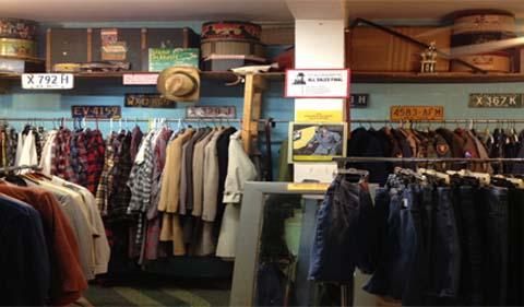 Athens Underground, with racks of clothing