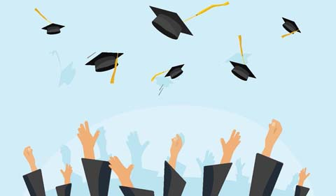 Graduation illustration with mortarboards flying