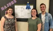 "Linguistics undergraduates Francesca Cappetta, Carlye Stevens and Joshua Kitsos won first place in Arts and Humanities 2 for their construction of a new language called ""Suʒ.niŋ.u.ʃə."" Josh Kitsos (not pictured) also participated in the project."