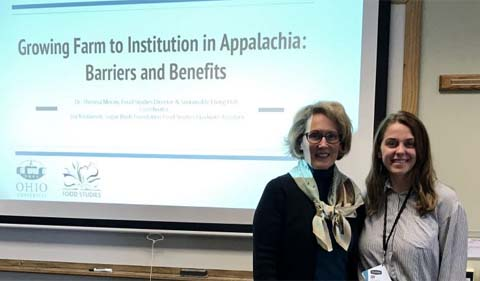 "Dr. Theresa Moran and Joy Kostansek present ""Growing Farm to Institution in Appalachia: Barriers and Benefits."
