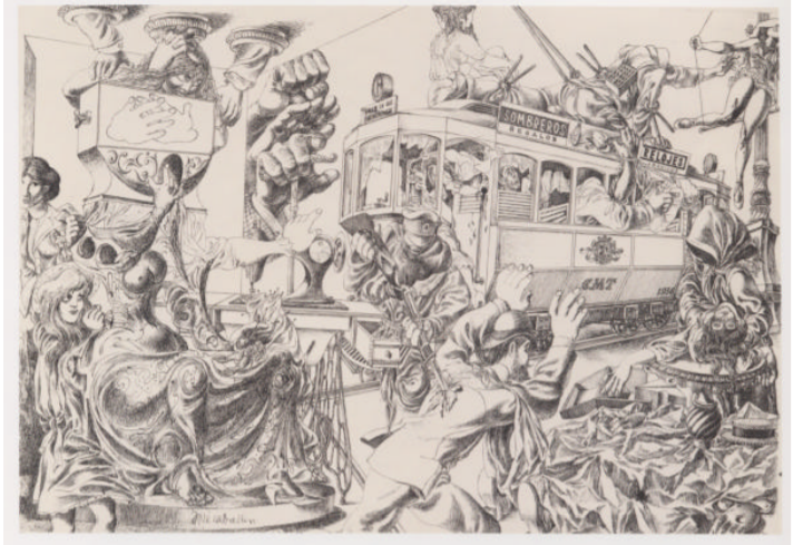 """A surrealist drawing entitled """"The Last Transit Car"""" by José Caballero. The drawing shows a transit car that is full of people and animals that is surrounded by a war-like setting outside."""