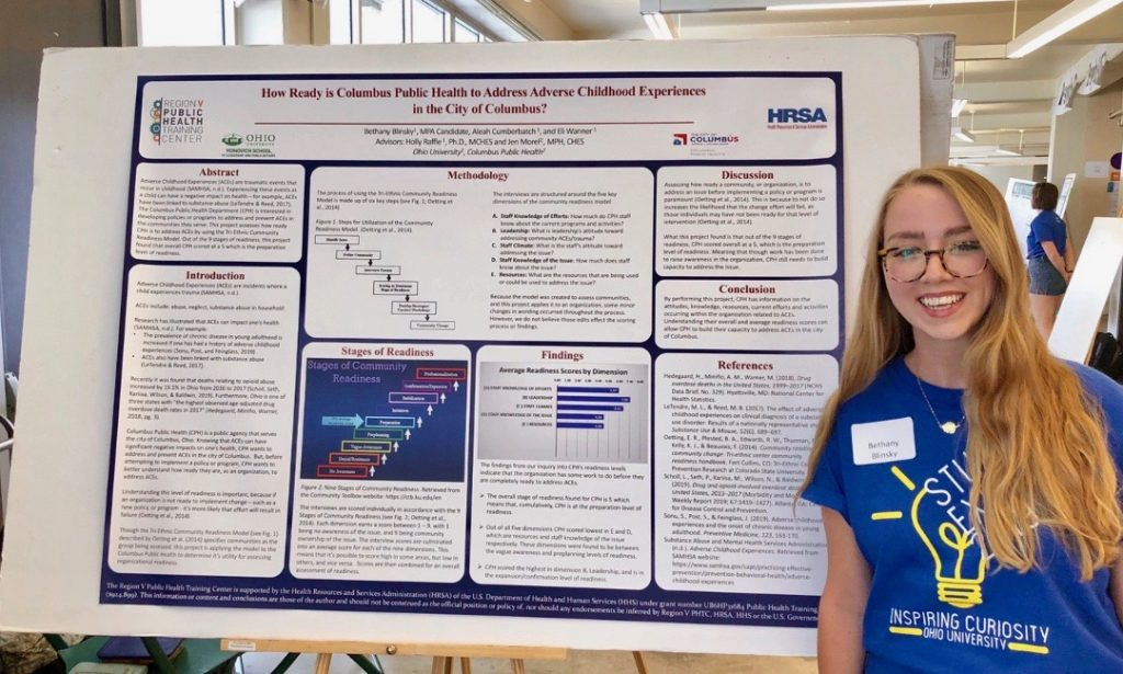 Bethany Blinsky, recent MPA graduate, stands in front of her winning poster at the Student Expo