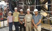 L to R: Ohio University students Miranda Carver, Joseph Rowley, Utsav Shrestha, Dr. Kenneth Hicks, and Taya Chetry in front of the CLAS12 detector at Jefferson National Laboratory