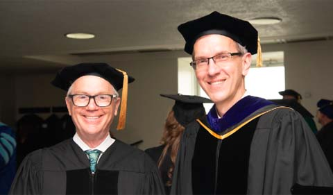 From left, Dr. Robert Kirshner and Dr. Joe Shields, Interim Dean of the College of Arts & Sciences.