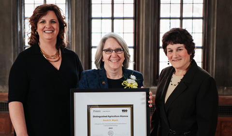 Dr. Sarah Wyatt receives Purdue's 2019 Distinguished Agriculture Award in March.