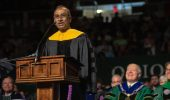 "Honorary degree recipient Venkatraman ""Venki"" Ramakdrishnan speaks at gradute commencement. Photo by Ben Siegel"