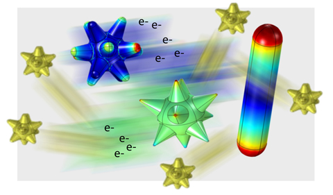 Artist concept of ultrafast energetic electrons injected from gold nanocrystals in recent experiments on photophysics