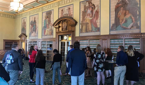 Students tour the Law Library at the Thomas J. Moyer Judicial Center