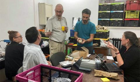 From left, Ashly Romero (University of Arkansas), Chris Robinson (Bronx College), Lars Werdelin (Swedish Museum of Natural History), Virgil Dragusin (Emil Racoviţa Institute of Speleology), Claire Terhune (University of Ark)