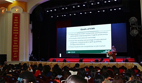 Dr. Dawn Bikowski giving the keynote at the International Conference on Teaching and Learning Foreign Languages in Hanoi, Vietnam