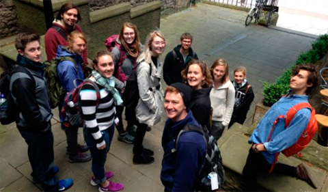 3. Dr. Tawny Paul, University of Exeter, leads Ohio University students on a tour of Edinburgh's Old and New Towns (Photo by G.L. Buckley,